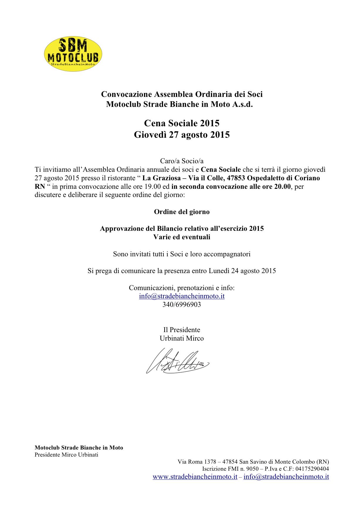 CONVOCAZIONE ASSEMBLEA 3 MC Ordinaria Bilancio